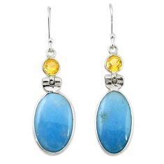 Natural blue angelite citrine 925 silver dangle earrings jewelry m20288