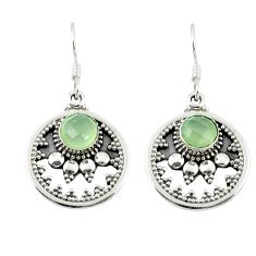Natural green prehnite 925 sterling silver dangle earrings m26923