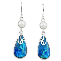 Natural blue shattuckite pearl 925 silver dangle earrings jewelry m3146