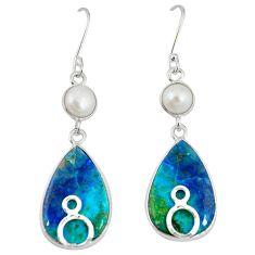 Natural blue shattuckite pearl 925 silver dangle earrings jewelry m3186