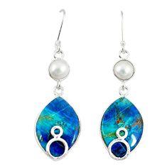925 silver natural blue shattuckite pearl dangle earrings jewelry m3198