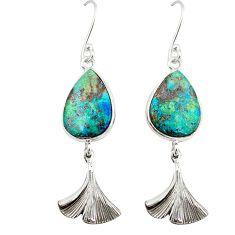 Natural blue shattuckite 925 sterling silver dangle earrings m3213