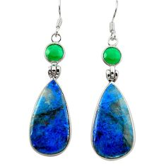 Natural blue shattuckite green chalcedony 925 silver dangle earrings m3280