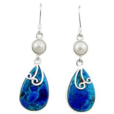 925 silver natural blue shattuckite pearl dangle earrings jewelry m3377