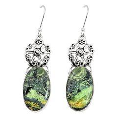 Natural green kambaba jasper (stromatolites) 925 silver dangle earrings m36424