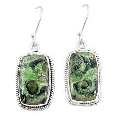 Natural green kambaba jasper (stromatolites) 925 silver dangle earrings m36429