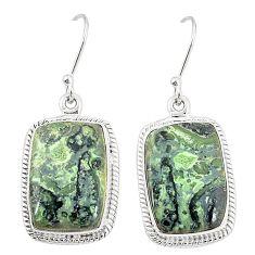 Natural green kambaba jasper (stromatolites) 925 silver dangle earrings m36430