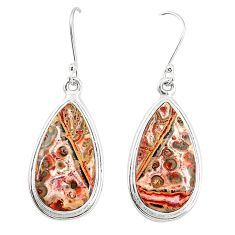 Natural brown leopard skin jasper 925 silver dangle earrings jewelry m36582