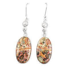 Natural brown leopard skin jasper 925 silver dangle earrings jewelry m36585