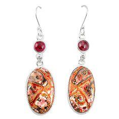 Natural brown leopard skin jasper 925 silver dangle earrings jewelry m36586