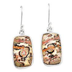 Natural brown leopard skin jasper 925 silver dangle earrings jewelry m36587