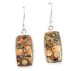 925 silver natural brown leopard skin jasper dangle earrings jewelry m36588
