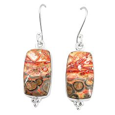 Natural brown leopard skin jasper 925 silver dangle earrings jewelry m36589