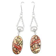 Natural brown leopard skin jasper pearl 925 silver dangle earrings m36590