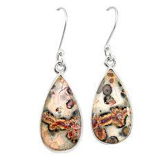 Natural brown leopard skin jasper 925 silver dangle earrings jewelry m36591