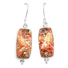 Natural brown leopard skin jasper 925 silver dangle earrings jewelry m36592