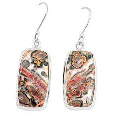 Natural brown leopard skin jasper 925 silver dangle earrings jewelry m36594