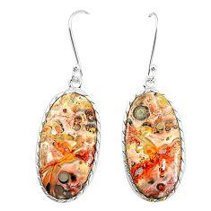 Natural brown leopard skin jasper 925 silver dangle earrings jewelry m36595