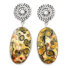 925 silver natural brown leopard skin jasper dangle earrings jewelry m36600