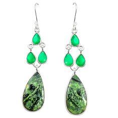 Natural green kambaba jasper (stromatolites) 925 silver dangle earrings m39072