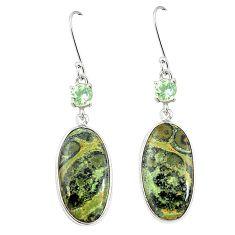 Natural green kambaba jasper (stromatolites) 925 silver earrings m39228