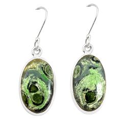 925 silver natural green kambaba jasper (stromatolites) earrings m39232