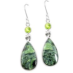 Natural green kambaba jasper (stromatolites) 925 silver earrings m39233