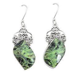 Natural green kambaba jasper (stromatolites) 925 silver earrings m39237