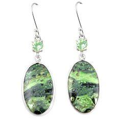 Natural green kambaba jasper (stromatolites) 925 silver earrings m39238