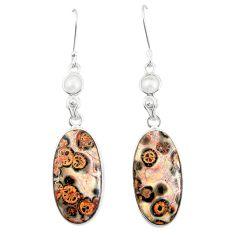 Natural brown leopard skin jasper 925 silver dangle earrings jewelry m39291