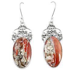 925 silver natural brown leopard skin jasper dangle earrings jewelry m39294
