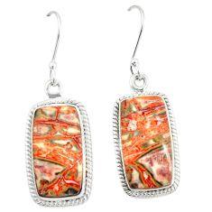 Natural brown leopard skin jasper 925 silver dangle earrings jewelry m39296