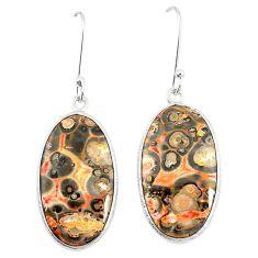 Natural brown leopard skin jasper 925 silver dangle earrings jewelry m39298