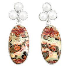 Natural brown leopard skin jasper 925 silver dangle earrings jewelry m39300