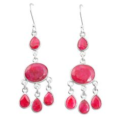 Natural red ruby 925 sterling silver dangle earrings jewelry m40010