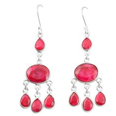 Natural red ruby 925 sterling silver dangle earrings jewelry m40011