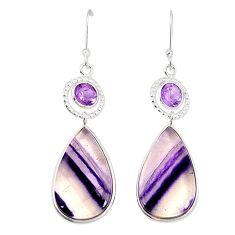 Natural multi color fluorite amethyst 925 silver dangle earrings m41328