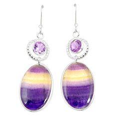 Natural multi color fluorite amethyst 925 silver dangle earrings m41330
