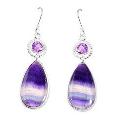 Natural multi color fluorite amethyst 925 silver dangle earrings m41332