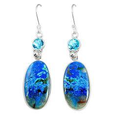 Natural blue shattuckite topaz 925 silver dangle earrings jewelry m41341