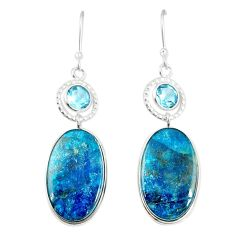 Natural blue shattuckite topaz 925 silver dangle earrings jewelry m41342