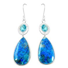 925 silver natural blue shattuckite topaz dangle earrings jewelry m41349