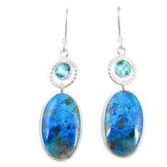 925 sterling silver natural blue shattuckite topaz dangle earrings m41350