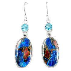 Natural blue shattuckite topaz 925 sterling silver dangle earrings m41351
