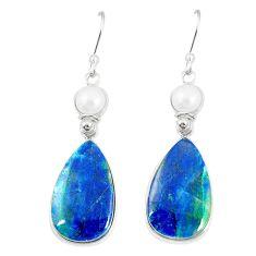 Natural blue shattuckite pearl 925 sterling silver dangle earrings m41352