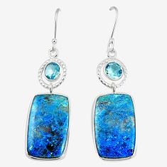 Natural blue shattuckite topaz 925 sterling silver dangle earrings m41353