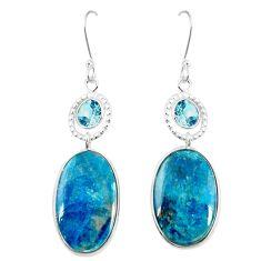 925 sterling silver natural blue shattuckite topaz dangle earrings m41354