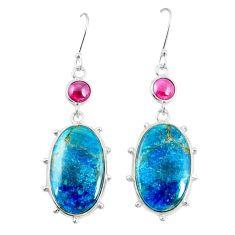 Natural blue shattuckite red garnet 925 silver dangle earrings jewelry m41356