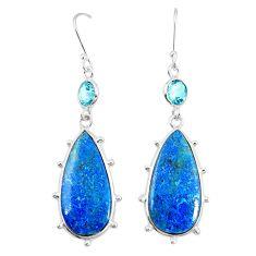 925 silver natural blue shattuckite topaz dangle earrings jewelry m41357