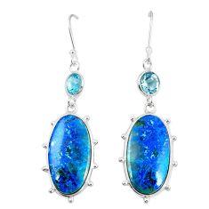 Natural blue shattuckite topaz 925 silver dangle earrings jewelry m41359